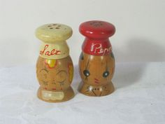 Vintage 50's Chef Shakers Salt  Pepper Wooden  by LavenderGardenCottag.   (Have these that were part of my Grandmaw's collection)❤️