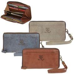 0c8600df0e456 Bear Design Geldbörse Leder Geldbeutel 3 Farben Portemonnaie 12KF  Handschlaufe