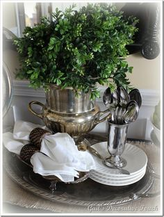 urn with boxwood greens
