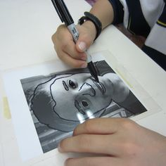 Layered Self Portraits - photo, clear overlay, sharpie, lay over a painting or collage when drawing is finished.