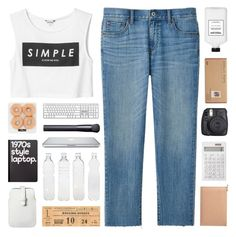 """SIMPLE IS HOW WE ROLL"" by emmas-fashion-diary ❤ liked on Polyvore featuring Uniqlo, Monki, Retrò, Mossimo, Muji, Aspinal of London, Fuji, Ron Dorff, Amelia Rose and Seletti"