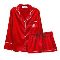 Personalized Pajamas, Tie Shorts, Cuff Sleeves, Satin Fabric, Pyjamas, Pajama Set, Adidas Jacket, Collars, Red And White