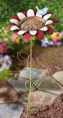 Metal Flower Stake Bird Feeder