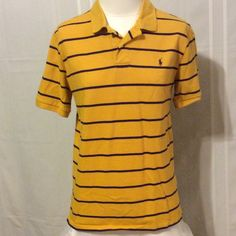 LSU colors polo⚓️ Striped purple and gold LSU colors shirt Polo Tops