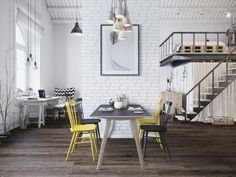 Fascinating Scandinavian style loft apartment in Prague I dream of lofts like this-M Dining Room Design, Mini Loft, Loft Style, Interior Design, Home, Interior, Loft Design, Scandinavian Dining Room, Scandinavian Interior Design