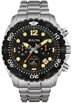 BULOVA 98B244, SEA KING, CHRONOGRAPH, BLACK DIAL, STAINLESS STEEL, WR 300M