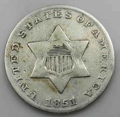 USA 3 Cents 1851 P Silver Three Cent Ag Silber [5900