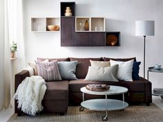 A modern living room with a brown FRIHETEN sofa bed by IKEA, VALJE wall cabinets in brown and white and a white STRIND coffee table. Corner Sofa Living Room, Ikea Living Room, Living Room Seating, Living Room Sets, Living Room Interior, Living Room Designs, Living Room Furniture, Sofa Furniture, Pallet Furniture