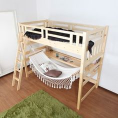 Hammock under the loft bed. A relaxing space hammock