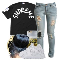 """""""supreme"""" by clickk-mee ❤ liked on Polyvore featuring Supreme, Wet Seal, Michael Kors and NIKE"""