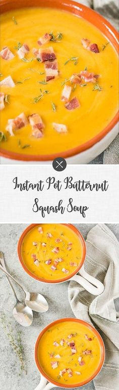 This delicious & creamy Instant Pot butternut squash soup is so quick and easy to make! Ready to serve in less than half an hour, it's the perfect fall soup that the whole family will love. Gluten-free and easy to make vegetarian. Best Soup Recipes, Best Dinner Recipes, Chili Recipes, Healthy Recipes, Healthy Eats, Delicious Recipes, Healthy Soups, Fall Recipes, Instant Pot Pressure Cooker
