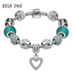 Best LOVE Gift 925 Silver Heart Charm bracelet for Women Murano Glass Beads Jewelry Fit pandora Bracelets Cuff Bracelet  PS3156