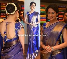 Pragya Jaiswal in a Kanchipuram Saree at Kalamandir Store Launch – South India Fashion Wedding Saree Blouse Designs, Pattu Saree Blouse Designs, Blouse Designs Silk, Blouse Patterns, Churidar Designs, Dress Designs, Indian Bridal Sarees, Bridal Silk Saree, Wedding Sarees