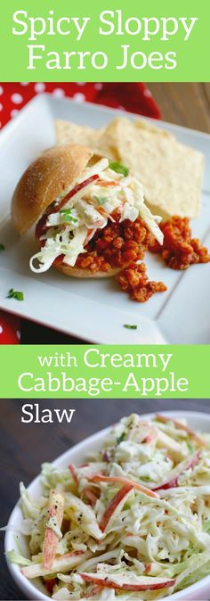 Spicy Sloppy Farro Joes with Creamy Cabbage-Apple Slaw is perfect on a ...
