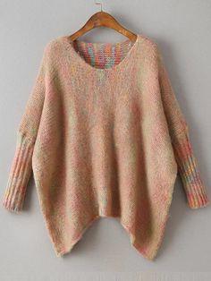 Pull tricoté asymétrique col rond - kaki