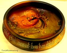 Glazed bowl, painted by Turid Helle Fatland, Norway