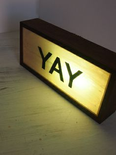 """""""YAY"""" Hand-Painted Vintage Light Box - via DTLL."""