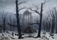 Cloister Cemetery in the Snow by Caspar David Friedrich, 1817-19, destroyed, formerly in the National Gallery, Berlin...