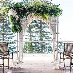 Macrame ceremony arch perfect for a bohemian wedding
