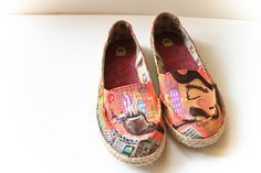 Handpainted Melon Pink City Life Shoes size 8 womens by kipgoods, $75.00 + FREE SHIPPING