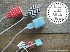 Label your various chargers with Washi tape. Trust me – these things can get mixed up easily. Washi tape is fun too, so you can make them pretty! Another great idea for roomies Tape Crafts, Fun Crafts, Diy And Crafts, Creative Crafts, Do It Yourself Inspiration, Diy Inspiration, Cinta Washi Tape, Dorm Hacks, Crafts For Teens