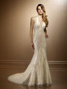 Trumpet/Mermaid Halter Beading Lace Chapel Train Wedding Dress at Millybridal.com