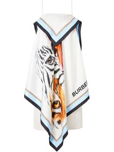 Porcelain mulberry silk animalia-print scarf dress from BURBERRY featuring spaghetti straps and straight hem. Kpop Outfits, Teen Fashion Outfits, Girl Fashion, Womens Fashion, Fashion Design, Vetement Fashion, Scarf Dress, Designer Scarves, Future Fashion