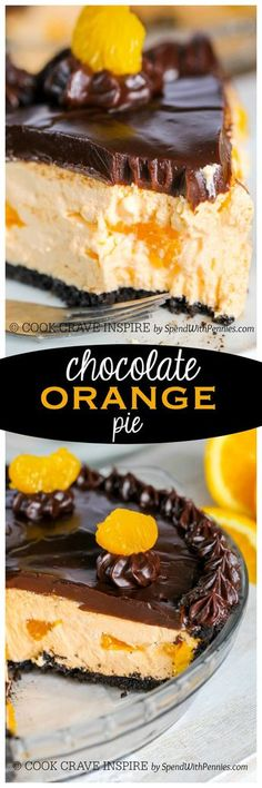 Chocolate Orange Pie.  This easy no bake dessert starts with an Oreo cookie crust filled with a fluffy orange cream filling and is topped with a rich chocolate ganache.