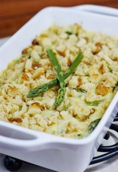 Fresh Asparagus & Hollandaise  Casserole ~ put a creamy casserole twist on the classic asparagus and Hollandaise combination.   www.thekitchenismyplayground.com