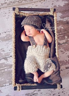 crochet newborn suspender pants and drivers by ShandaLeighDesign