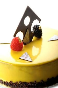 Banana Passion Pur Caraibe Chocolate Mousse with Passion Mango Cremeaux and Banana Compote by hope