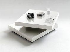 Table basse carrée pivotante blanc laqué Margo