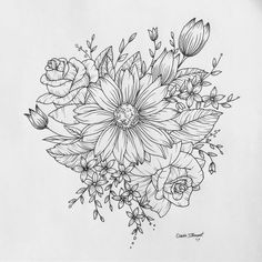 "97 Likes, 9 Comments - Claire Stewart (@clairestewartart) on Instagram: ""Another design done! #tattoo #customdrawing #drawing #sketch #linedrawing #flash #floral #sunflower…"""