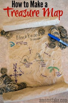 Easy recycled treasure map craft and activity for kids! Fun and simple to make!