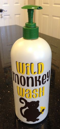 "DIY bath soap bottle for little boys ""Wild Monkey Wash"". Repurposed old soap bottle, cut vinyl on Cricut (used Don Juan font and picture from Animal Kingdom cartridge). So easy and cheap! (# Cricut vinyl)"