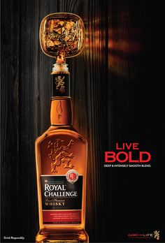 Royal Challenge Whisky (Product Campaign on Behance - Getrank Whisky, Cigars And Whiskey, Scotch Whiskey, Hard Drinks, Fun Drinks, Alcoholic Drinks, Liquor Bottles, Perfume Bottles, Drinking Book