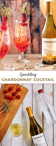 Get a fun, festive start to the holidays with this Sparkling Chardonnay Cocktail recipe from Woodbridge Wines. Start with filing a tall glass with ice. Add 1 oz. grenadine, followed by 2 oz. of Woodbridge Chardonnay and topped off with sparkling water. Viola! A delicious and easy-to-make cocktail.  Please enjoy our wines responsibly. � 2016 Woodridge Wines, Acampo, CA