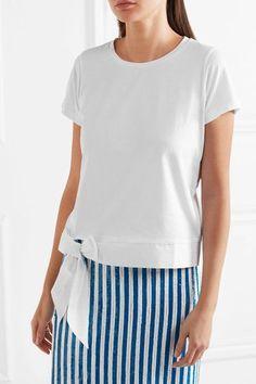J.Crew - Poplin-trimmed Cotton-jersey T-shirt - White -