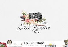 Watercolor Camera Logo Design for website logo, blog logo, business boutique branding design.