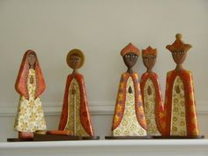 """13.5"""" tall Wooden Nativity set from Nicaragua.  NIC-H"""