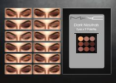 """Dark Neutral Eyes x9 Palette by MAC """"This set includes 12 gorgeous dark neutral looks with 2-3 colors incorporated into each one. Recommended MAC Eyeliners: Eyeliner 101 