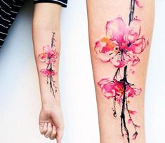 watercolor sakura tattoo ideas