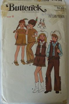 vintage sewing pattern butterick 4937 childrens halloween costumes cowboy and indians size 8 - Childrens Halloween Costume Patterns