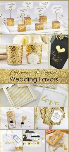 Over 100 Gold Wedding Theme Ideas, We love the Glittery Wedding Favors and Gold Foil!