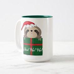 Slow! Ho! Ho! Sloth Two-Tone Coffee Mug - home gifts ideas decor special unique custom individual customized individualized