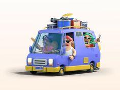 Songsplash Van by WOAO on Dribbble Van Design, Cartoon Man, Culture, Graphic Design, 3d, Music, Musica, Musik, Muziek