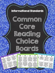 Common Core Reading Choice Boards for EVERY Informational Standard! Great for reader's response or reading centers.