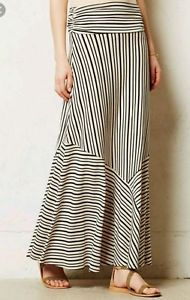 Anthropologie by Maeve Women's Black Ardennes Maxi Skirt Size M  | eBay