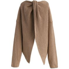 Chicwish Make it Trendy Twist Knot Oversize Sweater in Tan ($62) ❤ liked on Polyvore featuring tops, sweaters, beige, brown sweater, cocktail tops, holiday sweaters, oversized sweaters and over sized sweaters