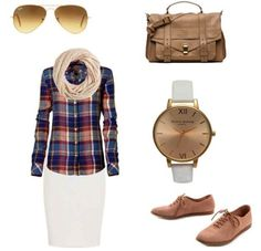Flannel with Infinity scarf, white pencil skirt with oxfords, to accessorize add some aviators, watch, travel bag .